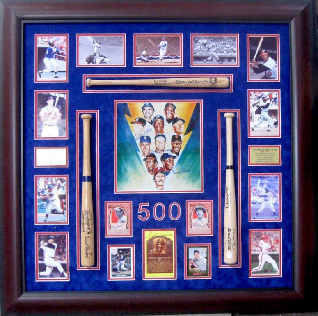 Authentic 500 Home Run Club Collage With Mini Bats