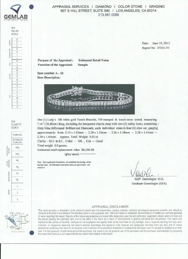 *Fine Jewelry 18 kt. White Gold, Custom Made 3.02CT - 2