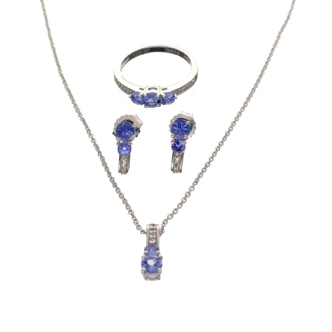 Fine Jewelry 3.15CT Tanzanite And  White Topaz Sterling
