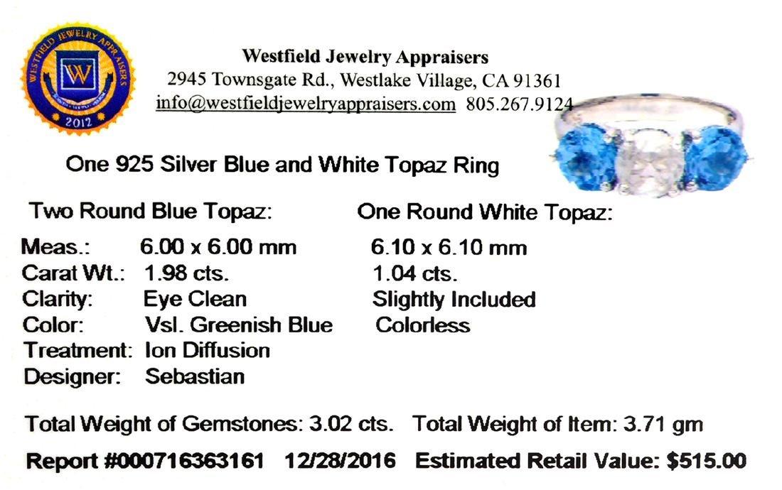 Fine Jewelry Designer Sebastian 3.02CT Round Cut Blue - 2