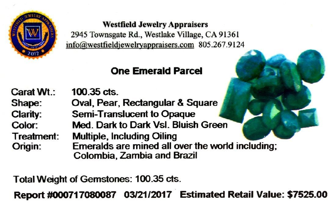 APP: 7.5k 100.35CT Various Shapes Green Emeral Parcel- - 2