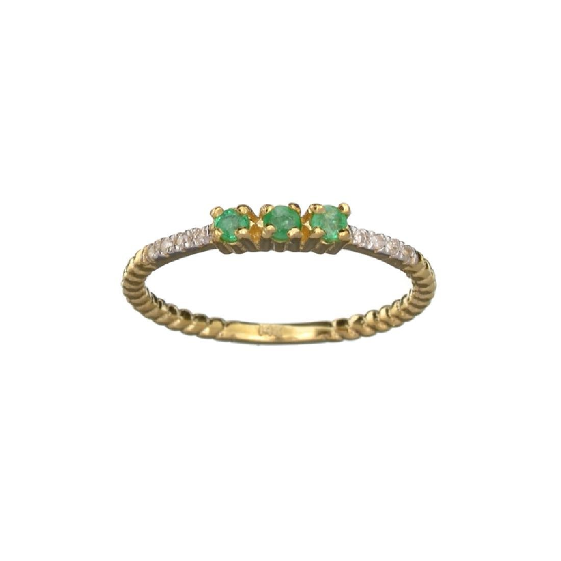 APP: 0.6k Fine Jewelry 14 KT Gold, 0.18CT Green Emerald