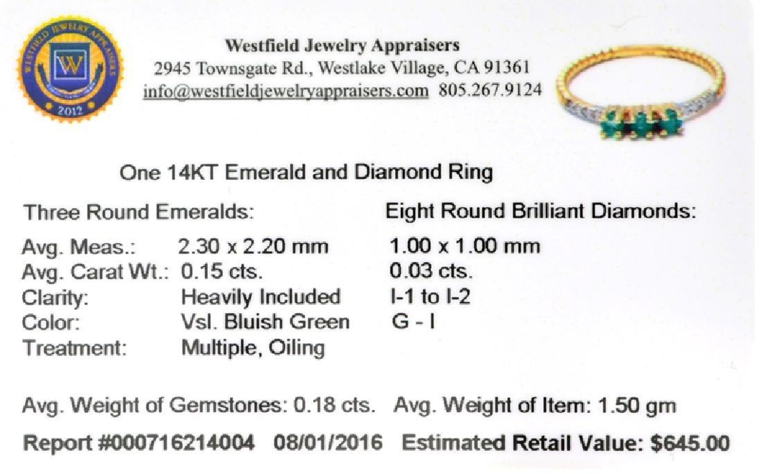 APP: 0.6k Fine Jewelry 14 KT Gold, 0.18CT Green Emerald - 2