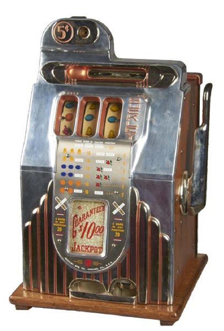 Rare Antique 5¢ Buckley Criss Cross Slot Machine -P-