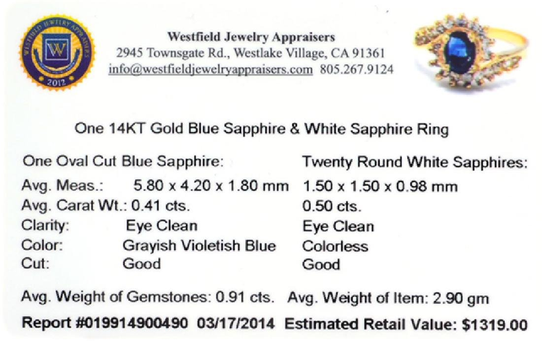 APP: 1.3k 14 kt. Gold, 0.41CT Oval Cut Blue And White - 2