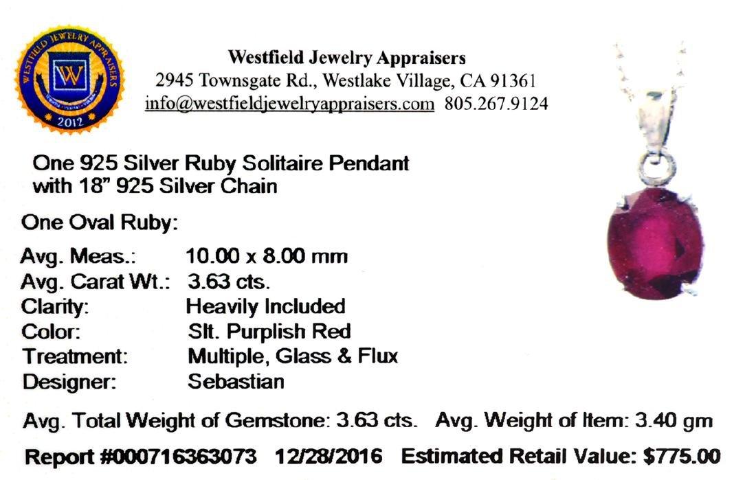 Fine Jewelry Designer Sebastian 3.63CT Oval Cut Ruby - 2