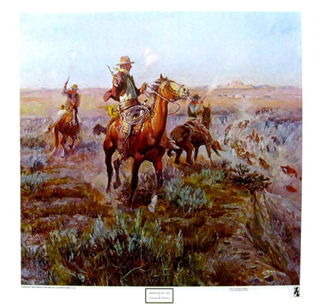 CHARLES M. RUSSELL (After) Smokin Em Out Print, 22'' x