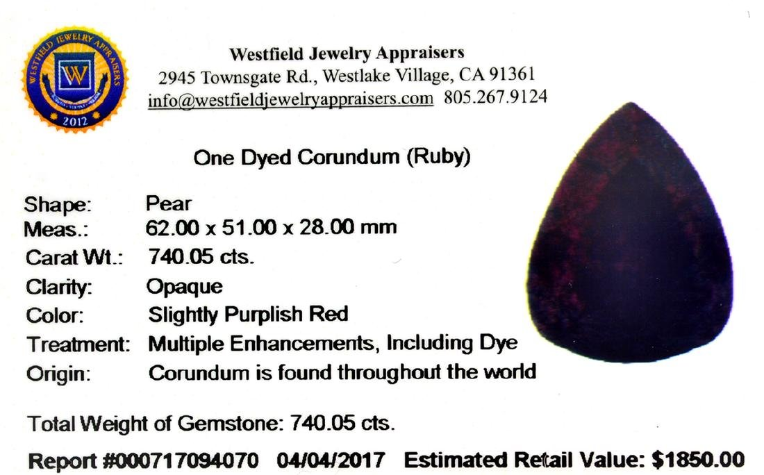 APP: 1.8k 740.05CT Pear Cut Ruby Gemstone - 3