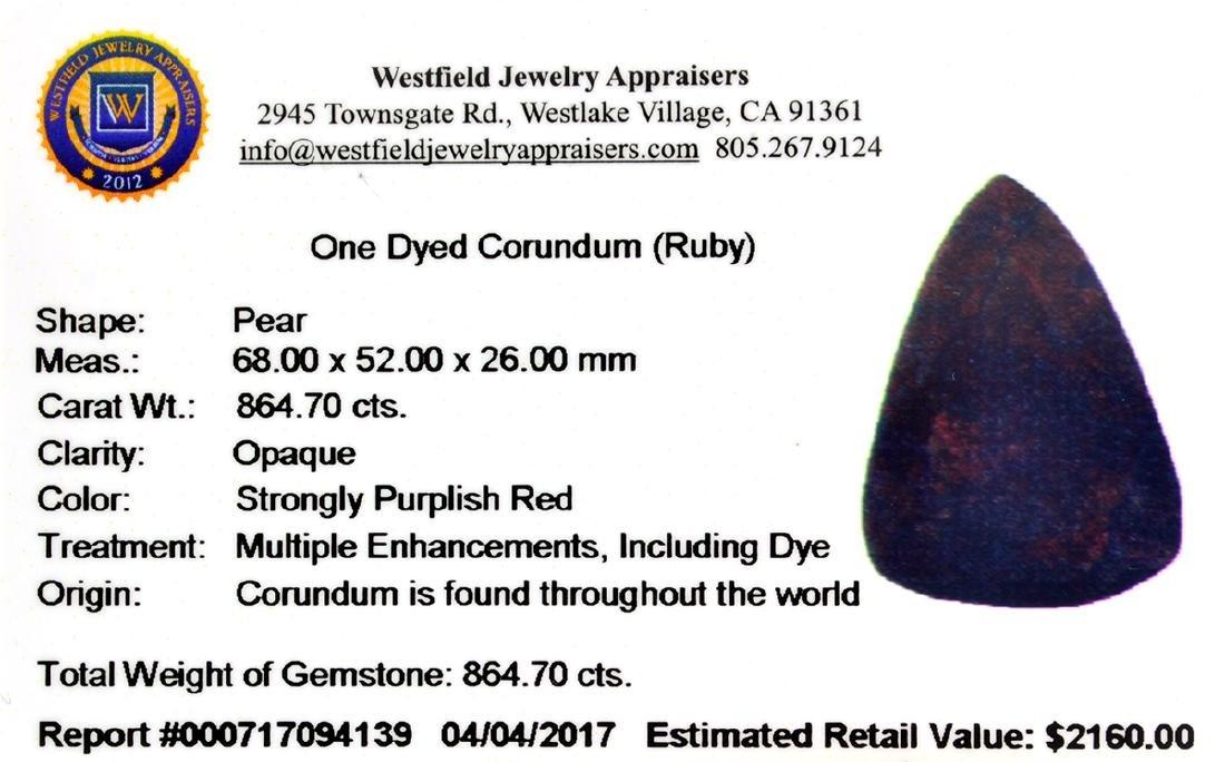 APP: 2.2k 864.70CT Pear Cut Ruby Gemstone - 3