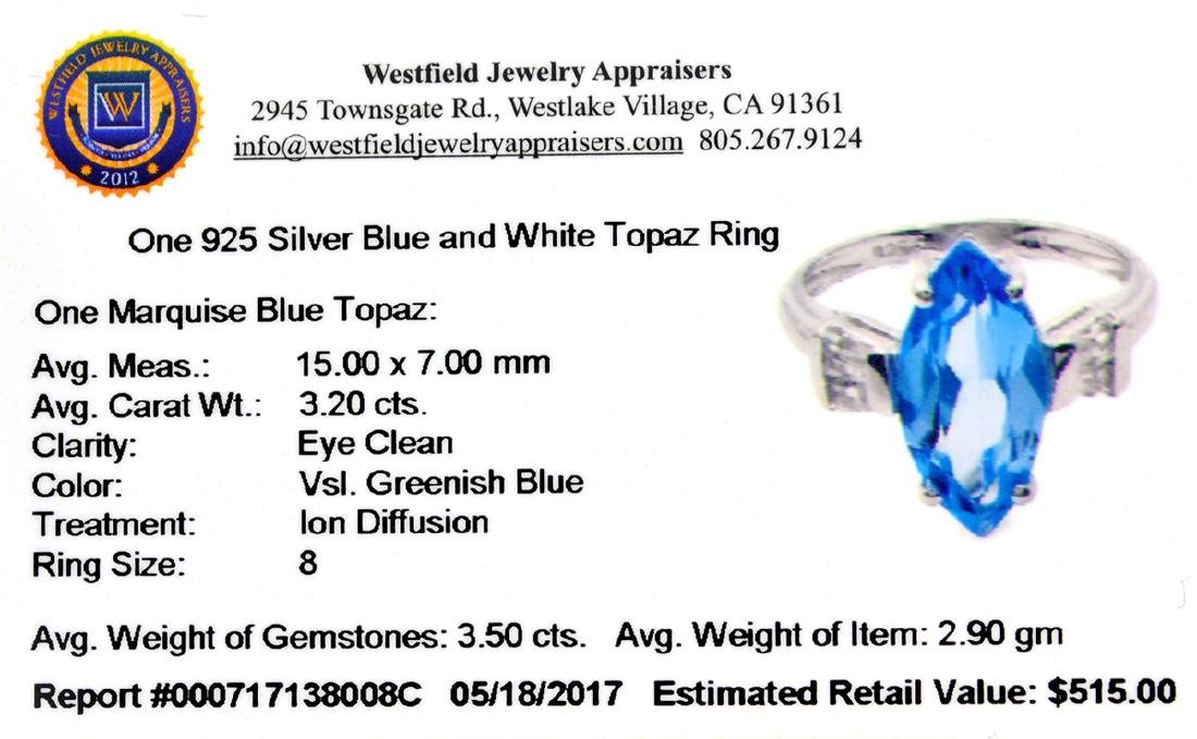 APP: 0.5k Fine Jewelry 3.20CT Marquise Cut Blue And - 2