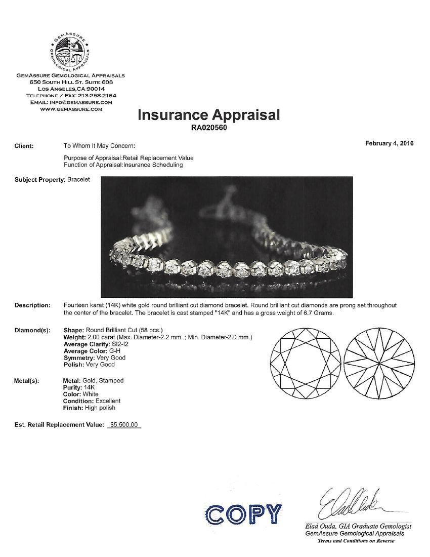 APP: 5.5k *Fine Jewelry 14 KT White Gold, 2.00CT Round - 2