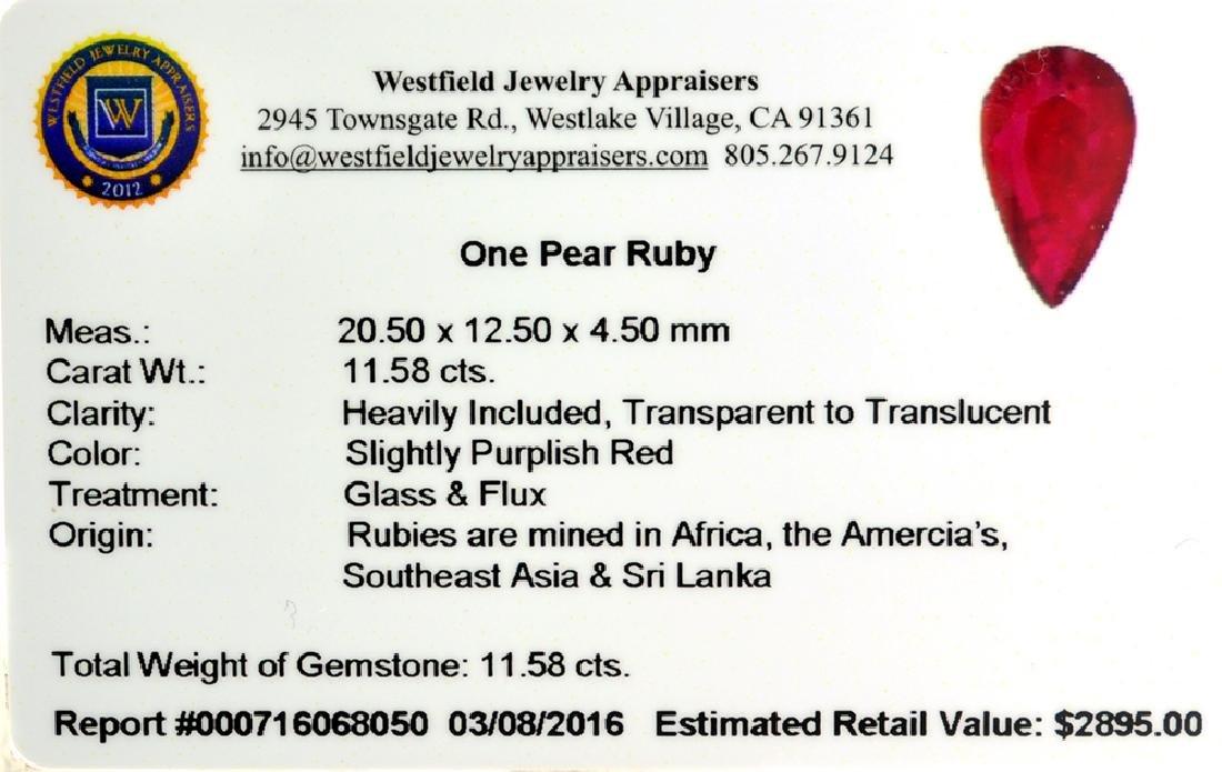 APP: 2.9k 11.58CT Pear Cut Ruby Gemstone - 2