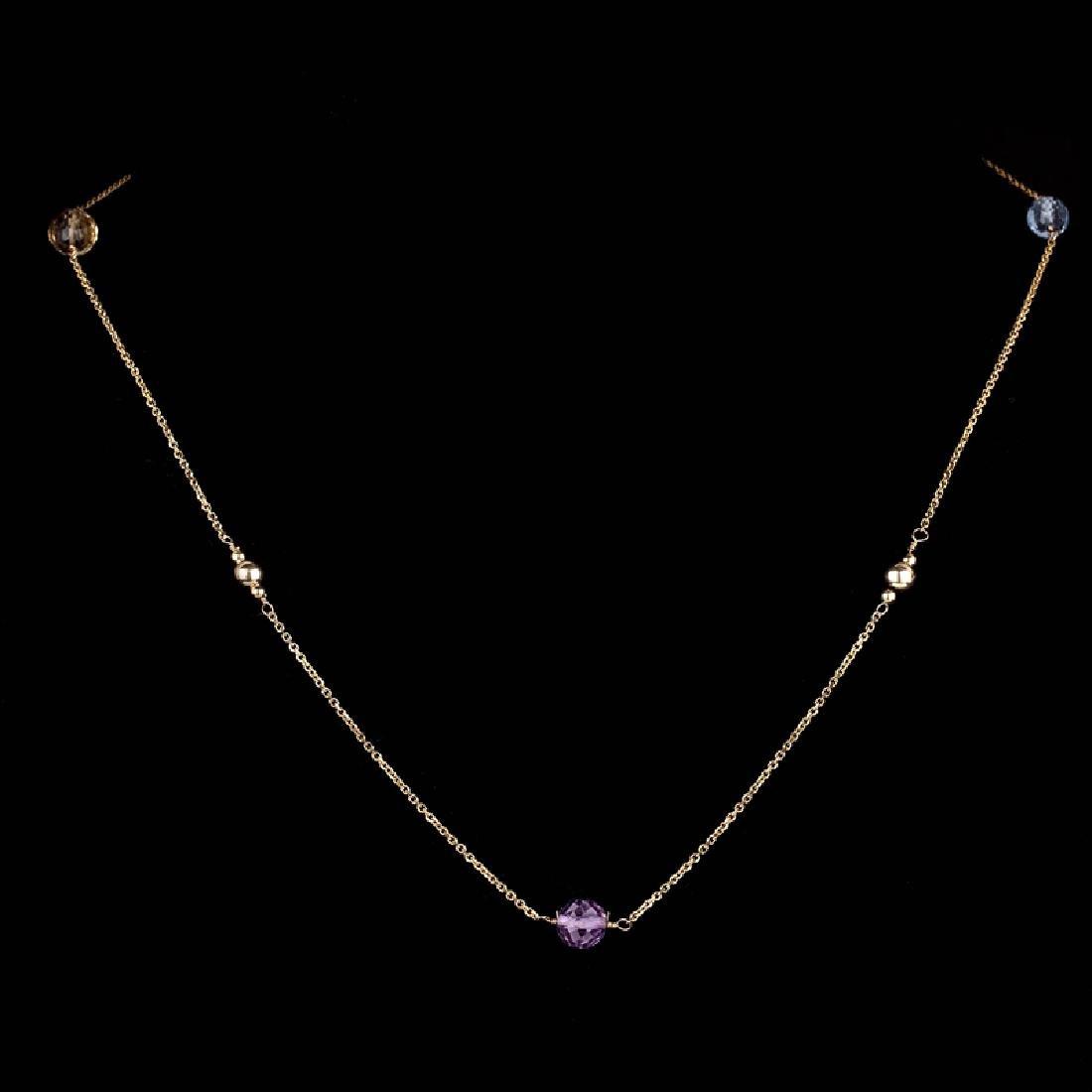 *14 KT Gold, Diamond Cut, 2.7GR, 16'' Amethyst, Blue