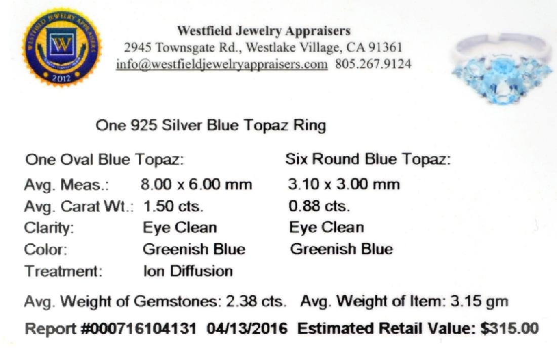 APP: 0.3k Fine Jewelry 2.38CT Topaz And Sterling Silver - 2