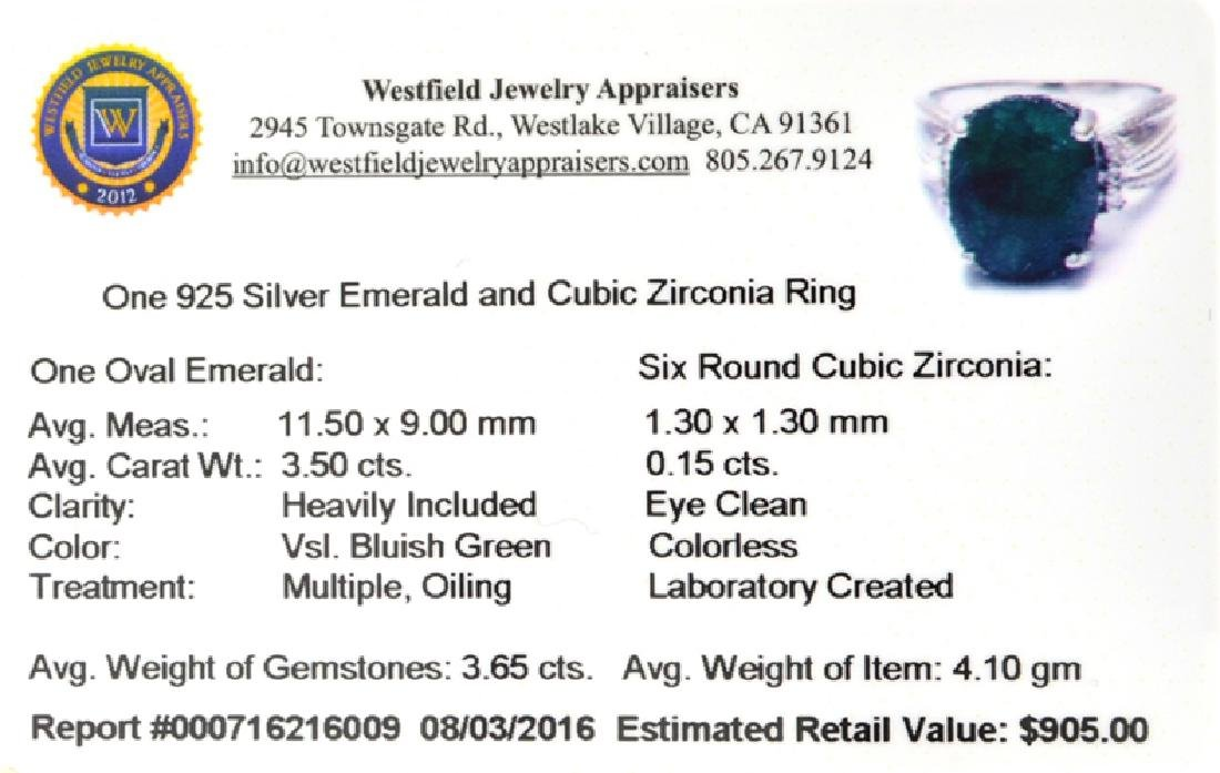 APP: 0.9k Fine Jewelry 3.65CT Green Emerald And Cubic - 2