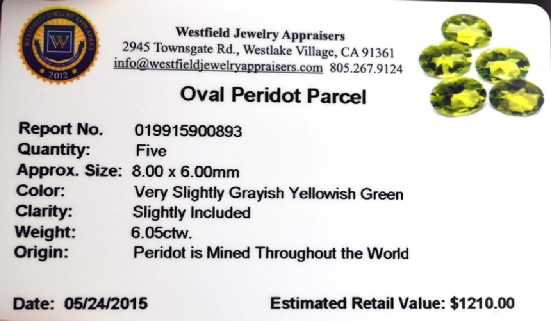APP: 1.2k 6.05CT Oval Cut Green Peridot Parcel - 2