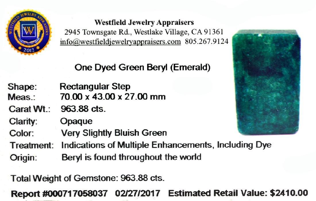 APP: 2.4k Very Rare Large Beryl Emerald 963.88CT - 2
