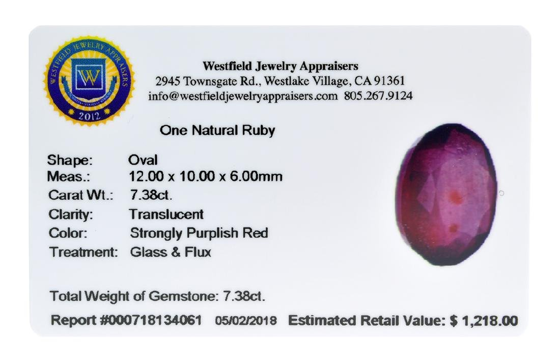 APP: 1.2k Extra Large Size 7.38CT Ruby Gemstone Very - 2