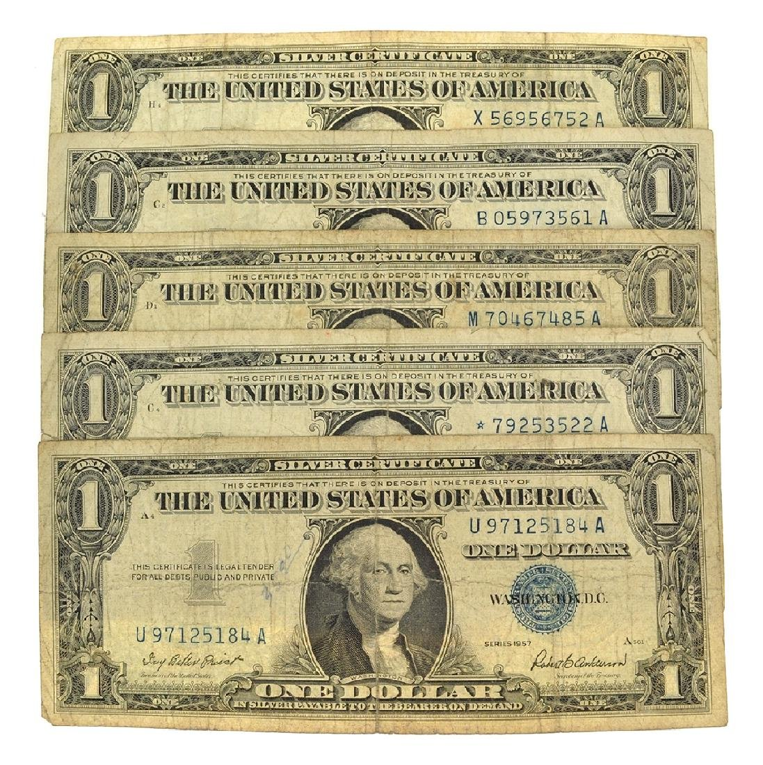 Nice (5) 1957 $1 U.S. Silver Certificates