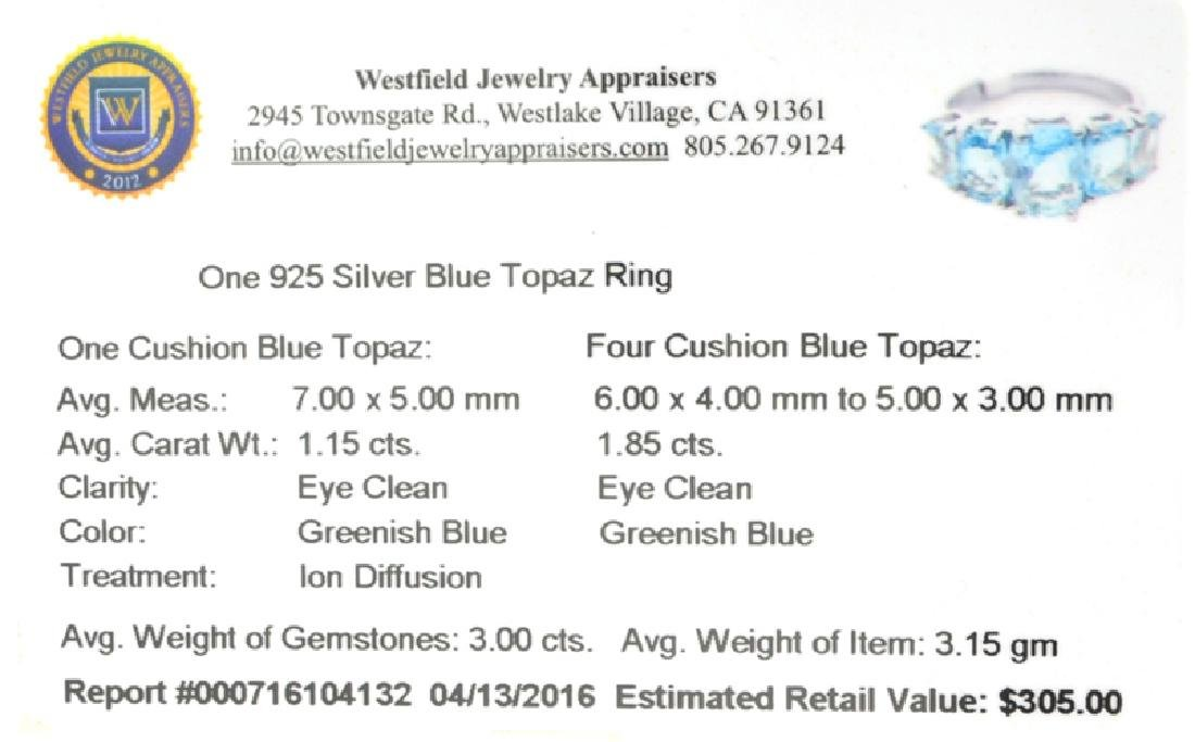 APP: 0.3k Fine Jewelry 3.00CT Cushion Cut Blue Topaz - 2