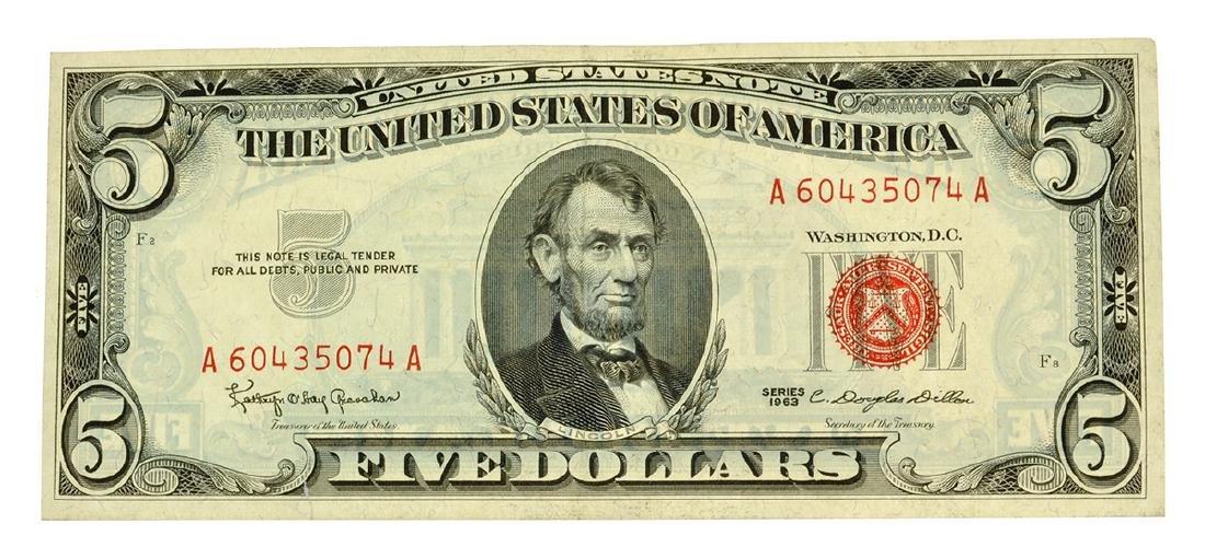 Rare 1963 $5 U.S. Red Seal Note