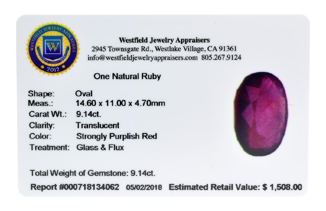APP: 1.5k Extra Large Size 9.14CT Ruby Gemstone Very - 2