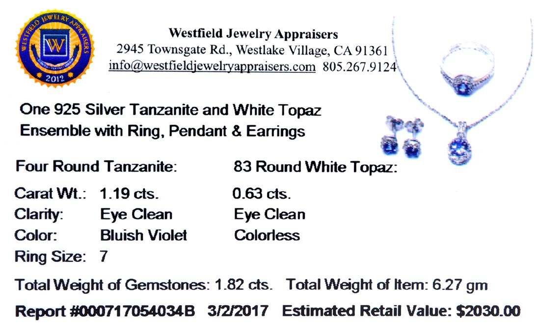 1.82CT Round Cut Tanzanite And White Topaz Sterling - 2