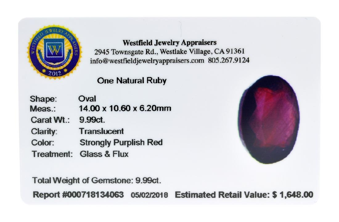 APP: 1.6k Extra Large Size 9.99CT Ruby Gemstone Very - 2