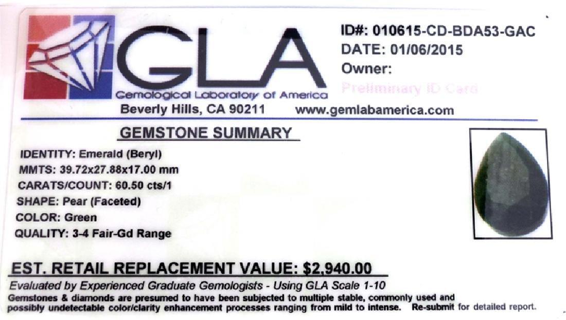 APP: 2.9k 60.50CT Pear Cut Green Beryl Emerald Gemstone - 3