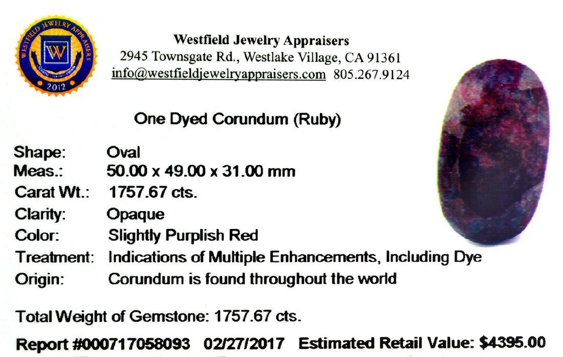APP: 4.4k Very Rare Large Ruby 1,757.67CT Gemstone - 2