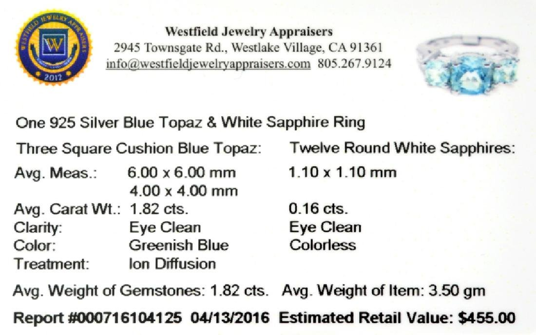 APP: 0.5k Fine Jewelry 1.82CT Topaz And White Sapphire - 2