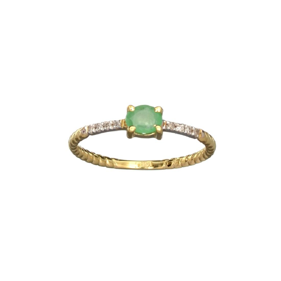 APP: 0.6k Fine Jewelry 14 KT Gold, 0.21CT Green Emerald