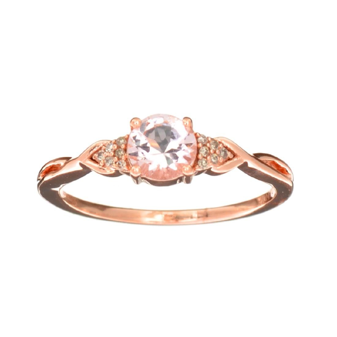 Designer Sebastian 14 KT Rose Gold, Round Cut Morganite