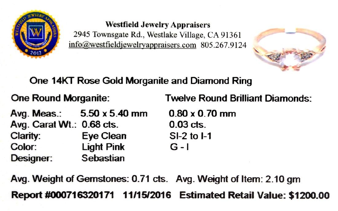 Designer Sebastian 14 KT Rose Gold, Round Cut Morganite - 2