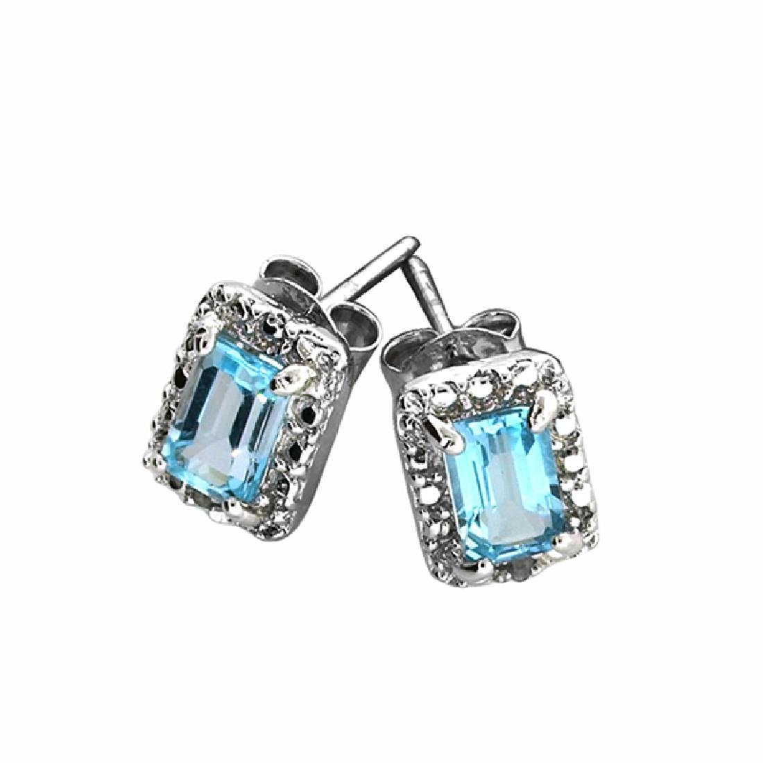 Blue Topaz and Sterling Silver Earring and Pendant Set - 2