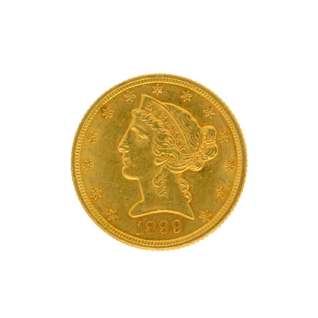 *1899 $5 Liberty Head Gold Coin (DF)