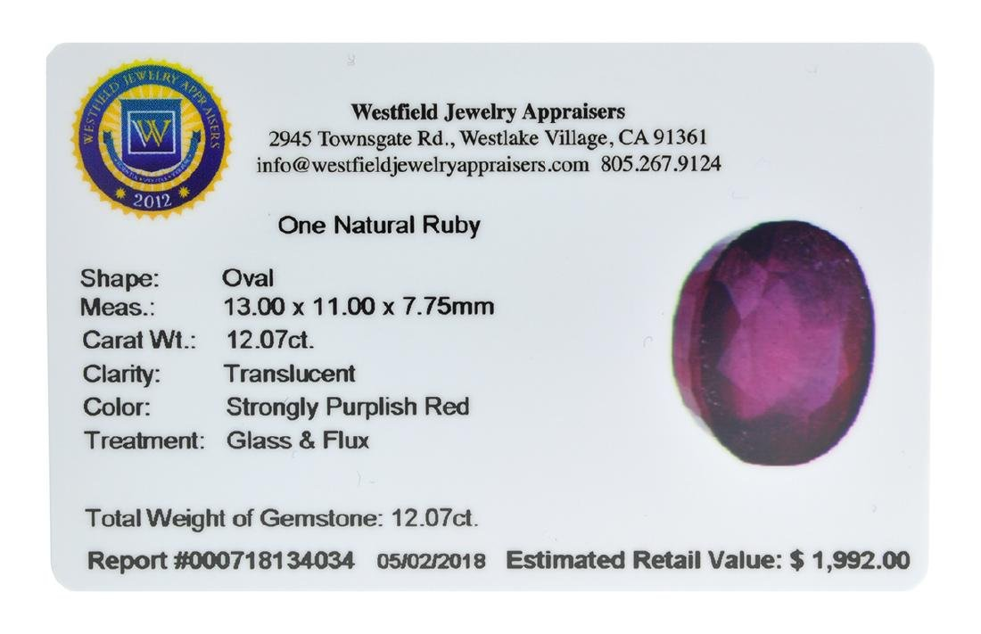 APP: 2k Extra Large Size 12.07CT Ruby Gemstone Very - 2