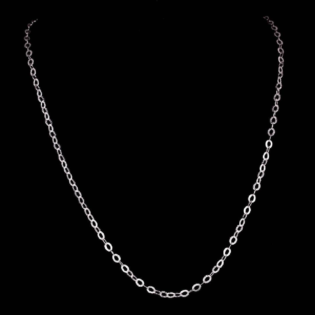 *Fine Jewelry 14 KT White Gold, 3.3GR, 18'' Corrugated