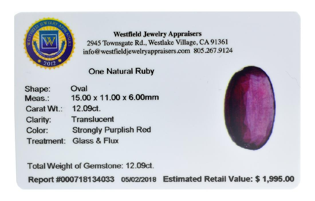 APP: 2k Extra Large Size 12.09CT Ruby Gemstone Very - 2