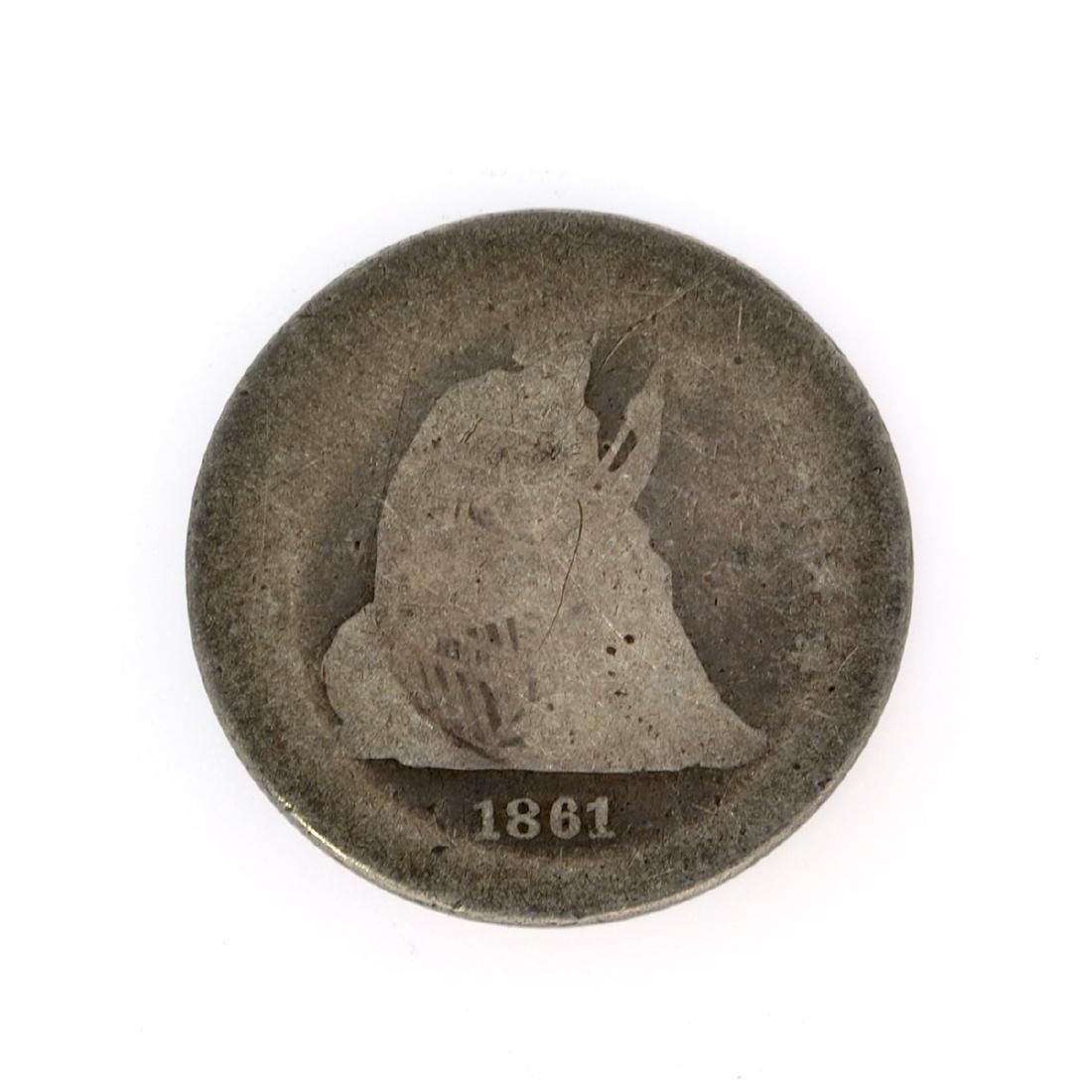 Rare 1861 Liberty Seated Quarter Dollar Coin