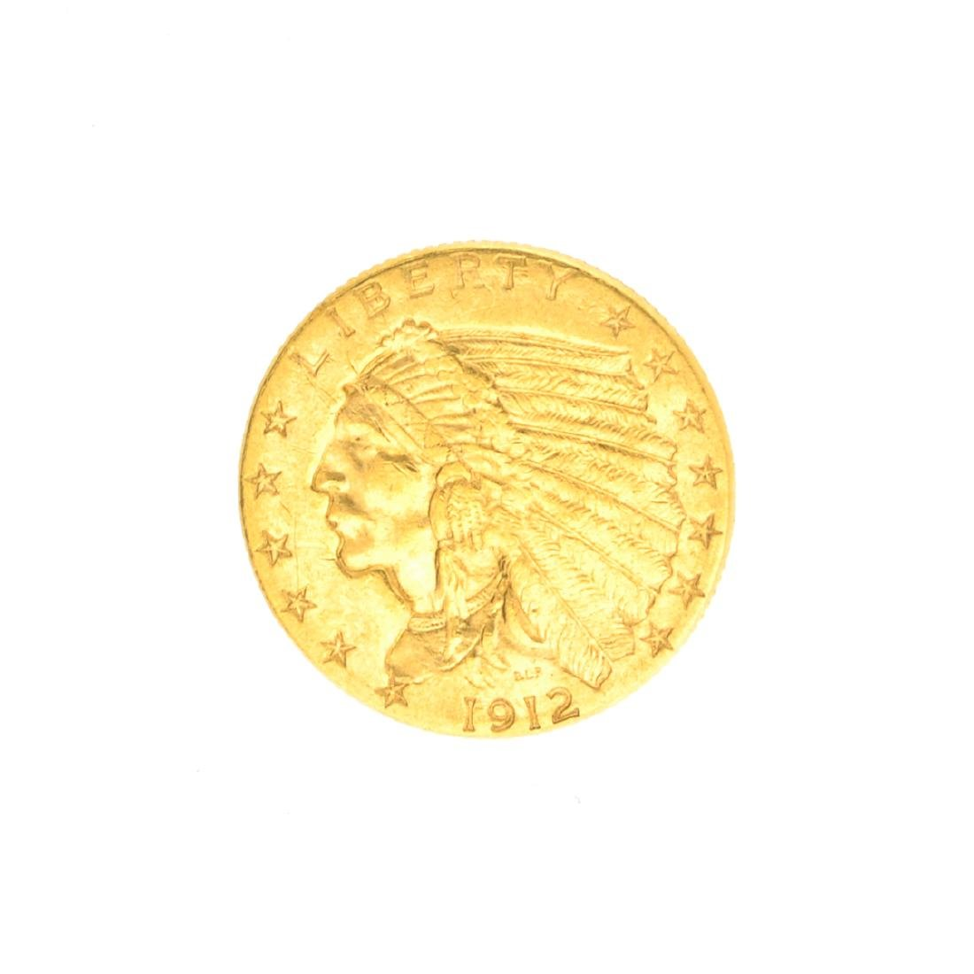 Very Rare 1912 $2.50 U.S. Indian Head Gold Coin Great