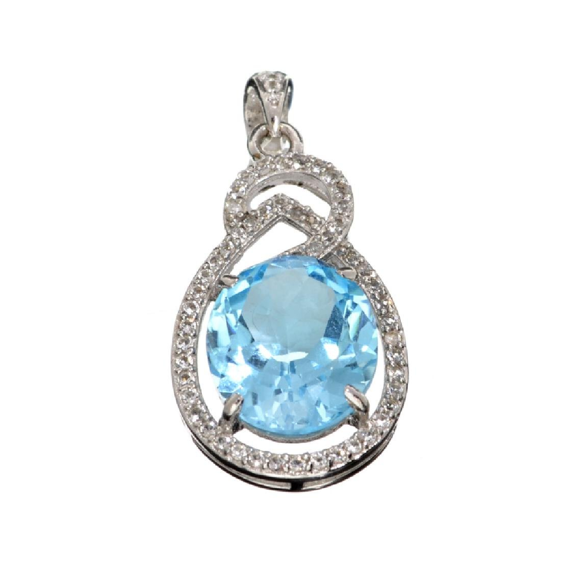 APP: 1.1k 9.30CT Blue Topaz And White Sapphire Sterling