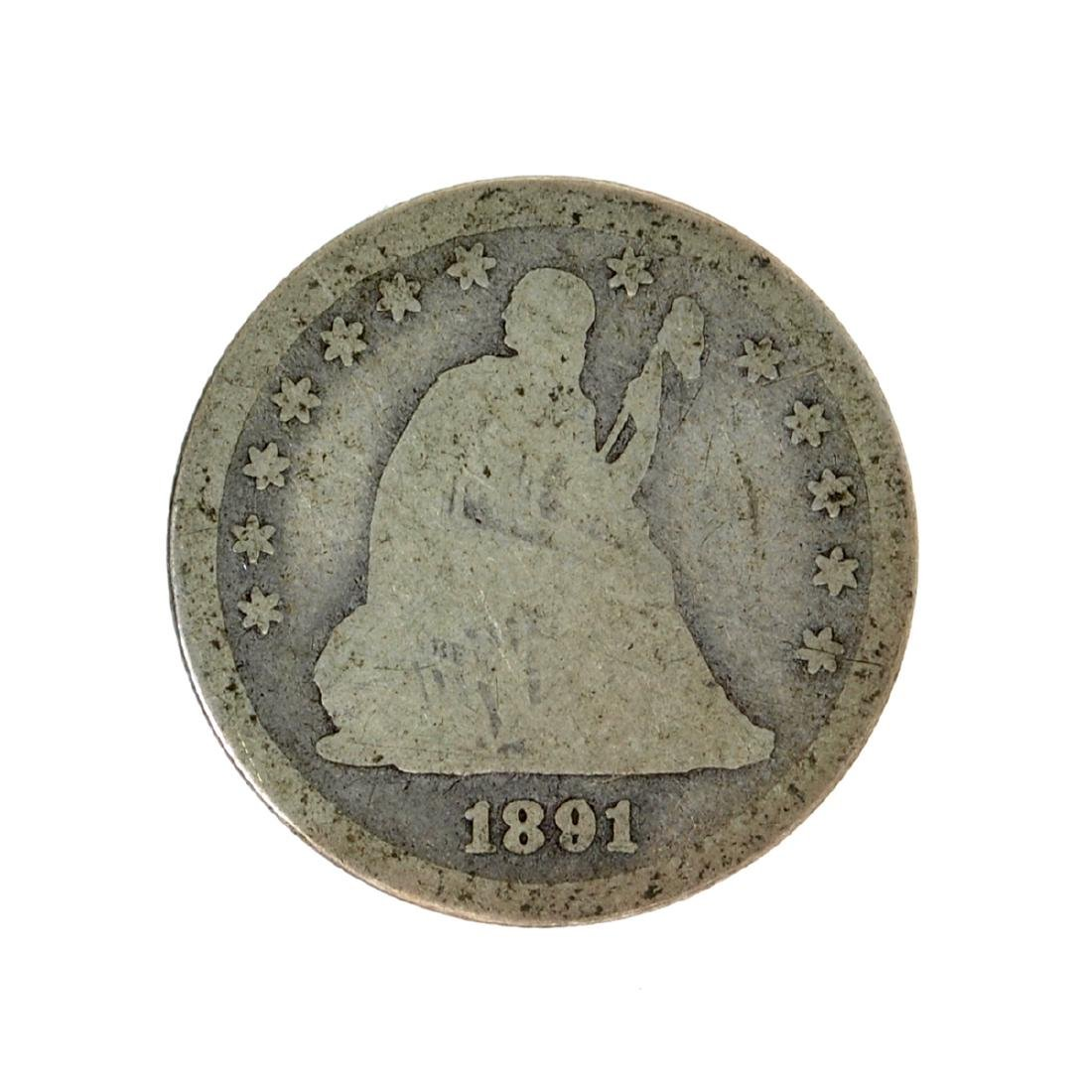 1891 Liberty Seated Quarter Dollar Coin
