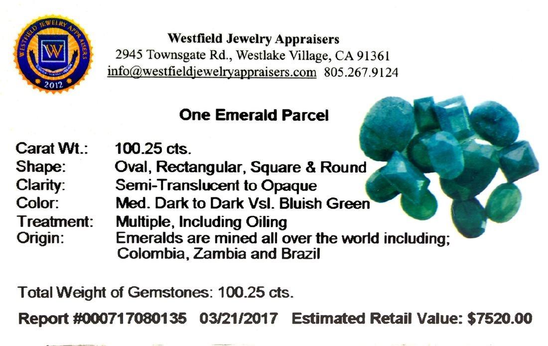 APP: 7.5k 100.25CT Various Shapes Green Emeral Parcel - - 2