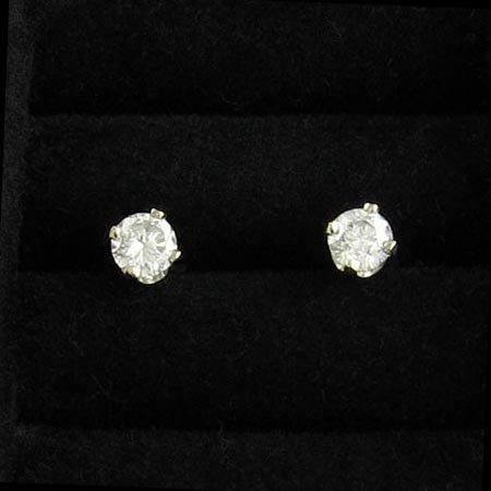 3532: 14 kt. White Gold, 0.32CT Diamond Earrings, INVES