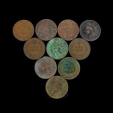 3504: GOV: 10 Indian Head Pennies Coin, COLLECTABLE!!