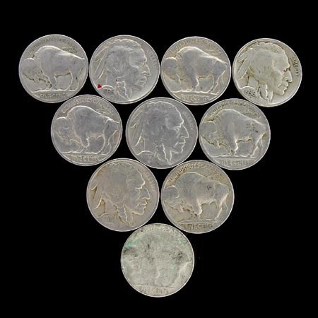 3518: 10 Buffalo Head  Nickels-Various Years Coin, COLL