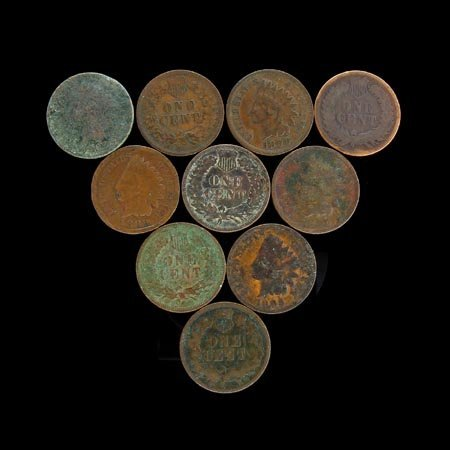 3530: 10 Indian Head Pennies Coin, COLLECT!