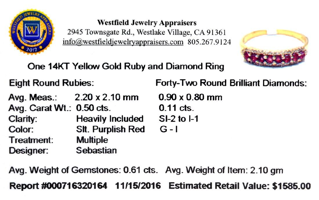 Designer Sebastian 14 KT Gold, Round Cut Ruby and - 2
