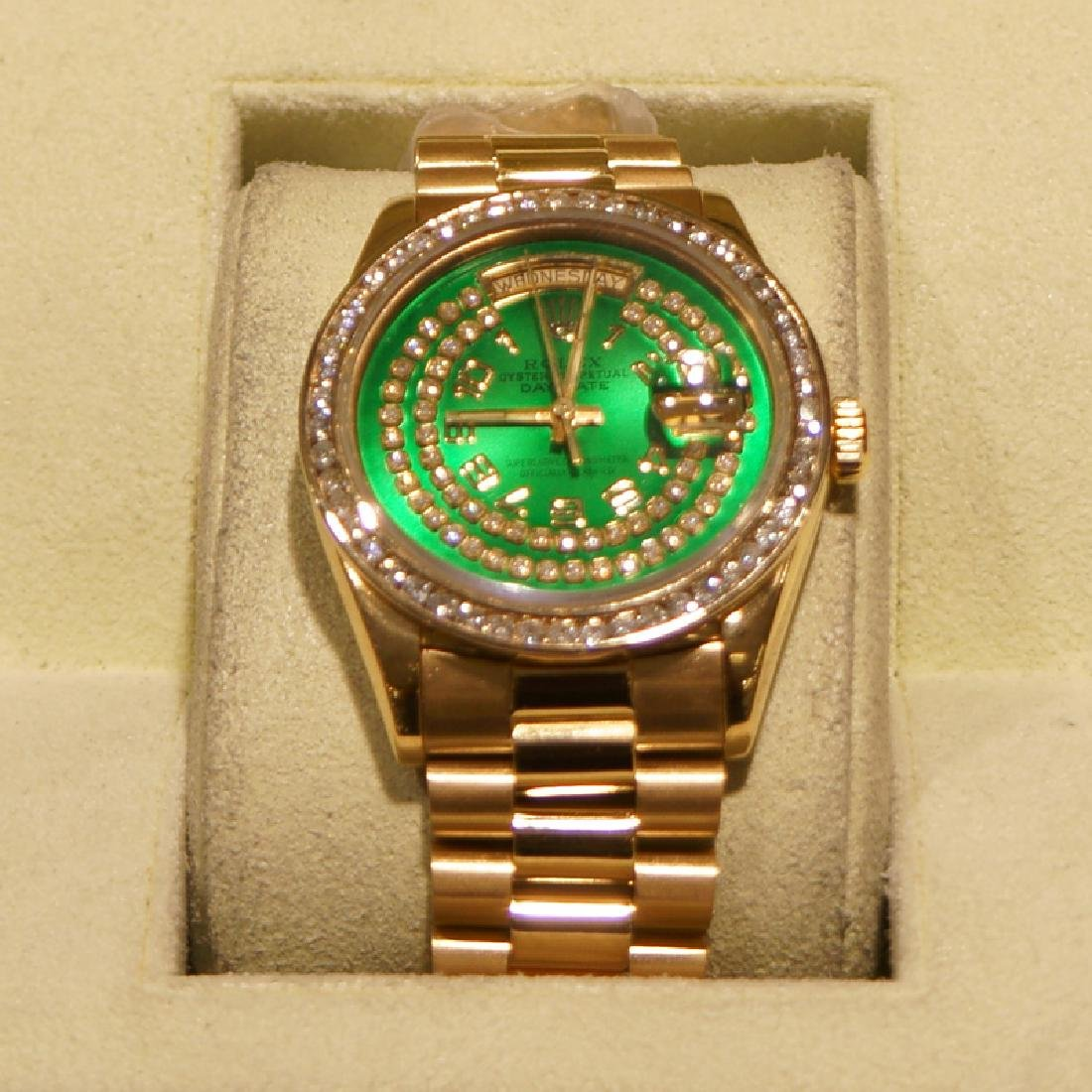 *18kt Yellow Gold Men's Rolex Presidential (Green Dial) - 2